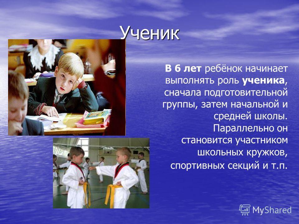 Ученик В 6 лет ребёнок начинает выполнять роль ученика, сначала подготовительной группы, затем начальной и средней школы. Параллельно он становится участником школьных кружков, спортивных секций и т.п.