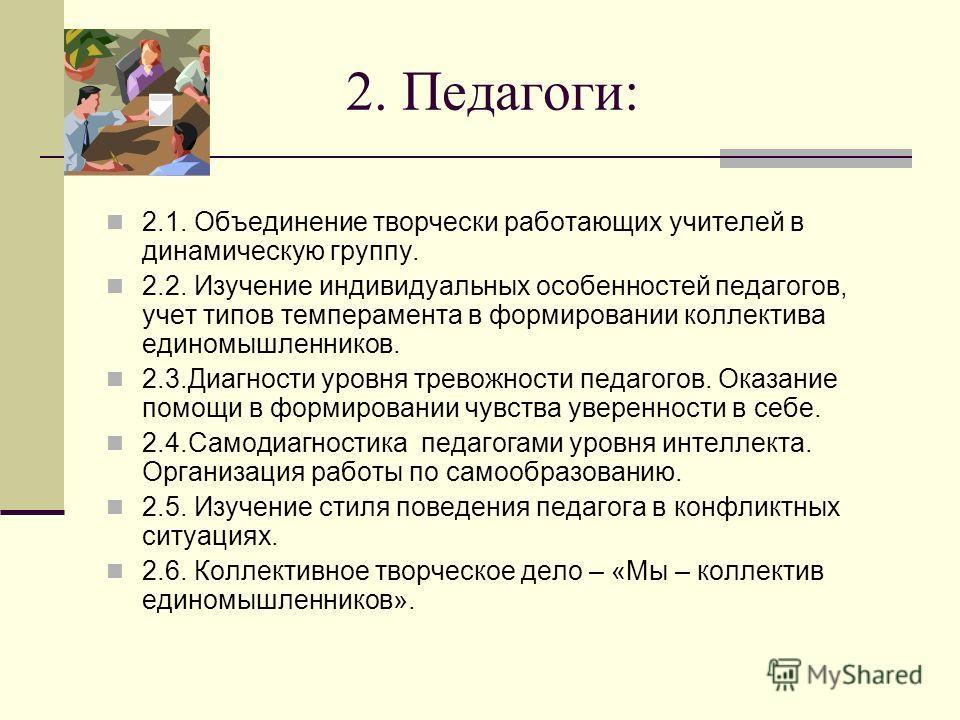 2. Педагоги: 2.1. Объединение творчески работающих учителей в динамическую группу. 2.2. Изучение индивидуальных особенностей педагогов, учет типов темперамента в формировании коллектива единомышленников. 2.3.Диагности уровня тревожности педагогов. Ок