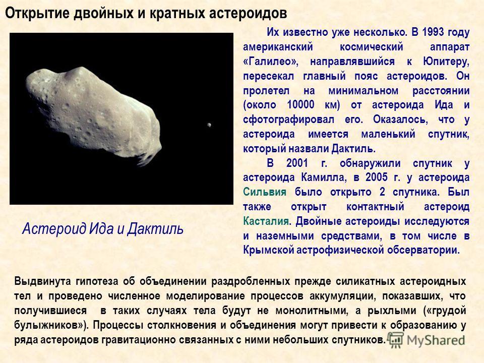 Астероид Ида и Дактиль Их известно уже несколько. В 1993 году американский космический аппарат «Галилео», направлявшийся к Юпитеру, пересекал главный пояс астероидов. Он пролетел на минимальном расстоянии (около 10000 км) от астероида Ида и сфотограф