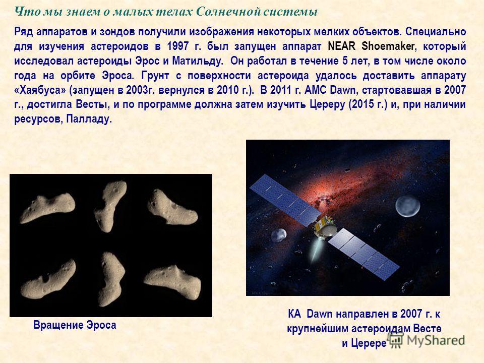 Что мы знаем о малых телах Солнечной системы Ряд аппаратов и зондов получили изображения некоторых мелких объектов. Специально для изучения астероидов в 1997 г. был запущен аппарат NEAR Shoemaker, который исследовал астероиды Эрос и Матильду. Он рабо