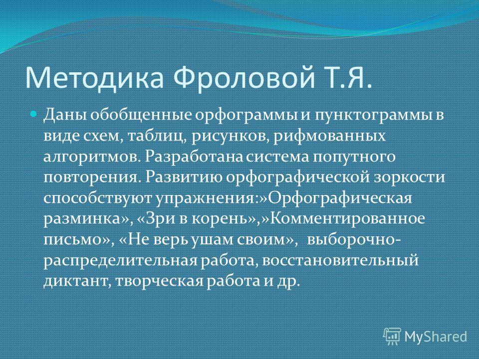 Методика Фроловой Т.Я. Даны