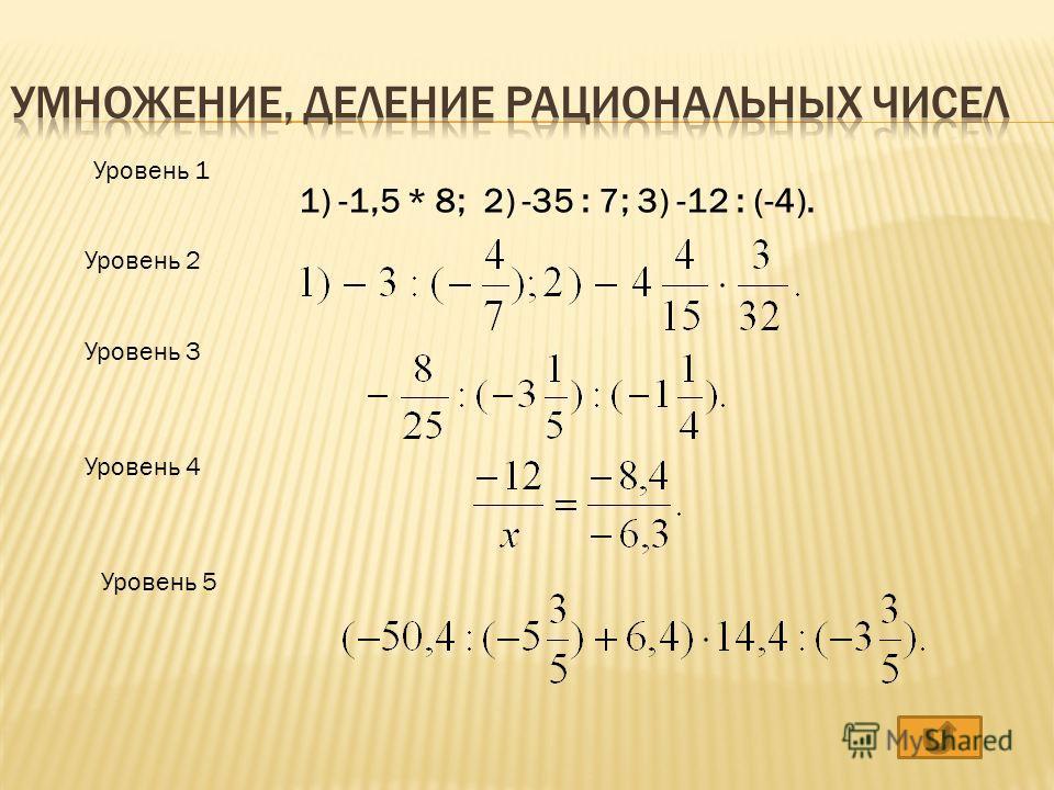 Уровень 1 Уровень 2 Уровень 3 Уровень 4 Уровень 5 1) -1,5 * 8; 2) -35 : 7; 3) -12 : (-4).