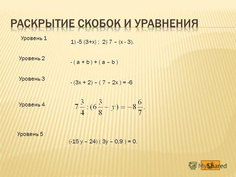 Уровень 1 Уровень 2 Уровень 3 Уровень 4 Уровень 5 1) -5 (3+x) ; 2) 7 – (x - 3). - ( a + b ) + ( a – b ) - (3x + 2) – ( 7 – 2x ) = -6 (-15 y – 24) ( 3y – 0,9 ) = 0.