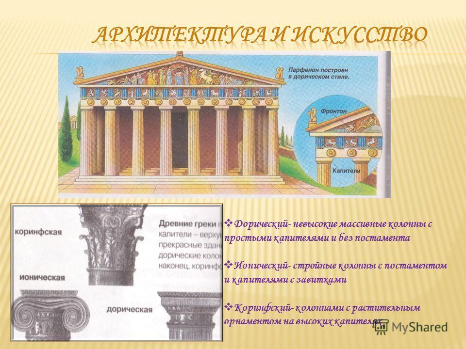 Дорический- невысокие массивные колонны с простыми капителями и без постамента Ионический- стройные колонны с постаментом и капителями с завитками Коринфский- колоннами с растительным орнаментом на высоких капителях