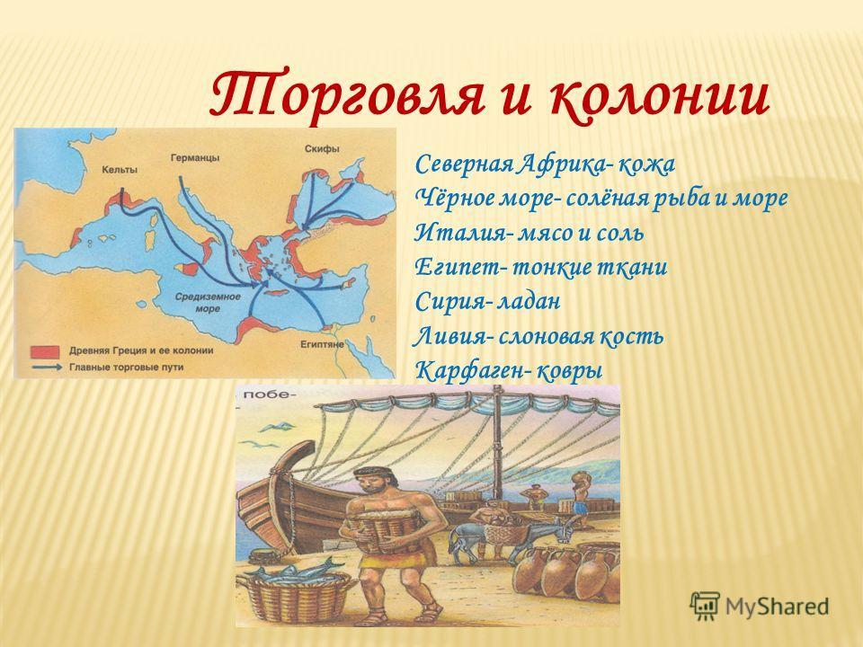 Торговля и колонии Северная Африка- кожа Чёрное море- солёная рыба и море Италия- мясо и соль Египет- тонкие ткани Сирия- ладан Ливия- слоновая кость Карфаген- ковры