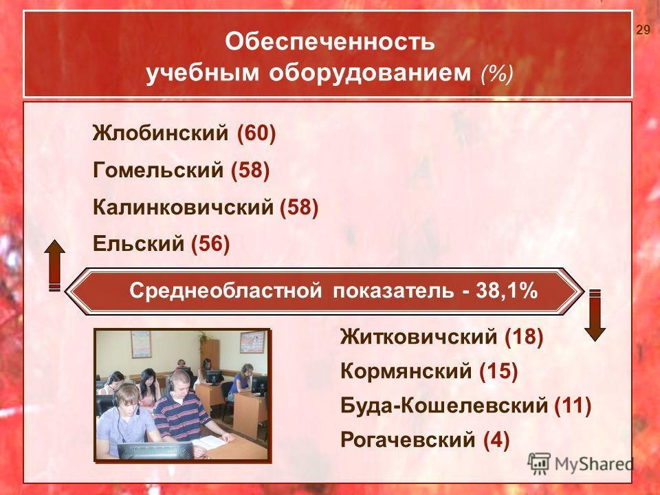 29 Обеспеченность учебным оборудованием (%) Жлобинский (60) Гомельский (58) Калинковичский (58) Ельский (56) Житковичский (18) Кормянский (15) Буда-Кошелевский (11) Рогачевский (4) Среднеобластной показатель - 38,1%