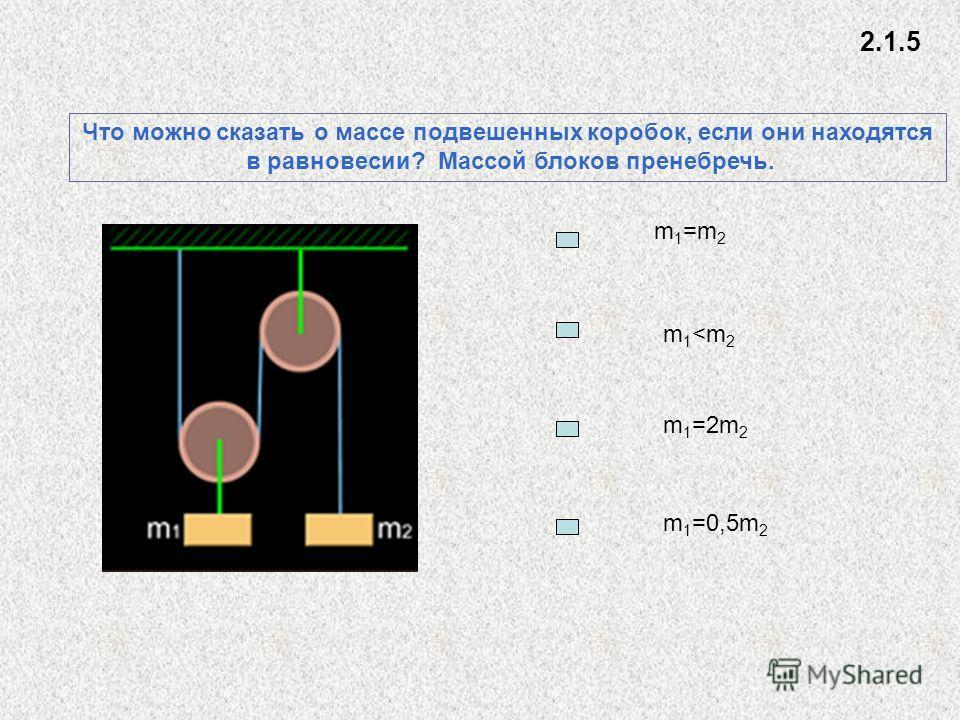Что можно сказать о массе подвешенных коробок, если они находятся в равновесии? Массой блоков пренебречь. m 1 =m 2 m1