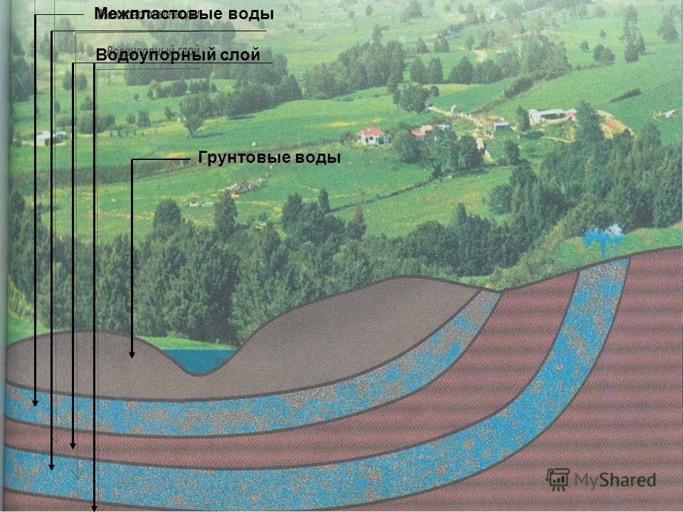 Межпластовые воды Водоупорный слой Грунтовые воды