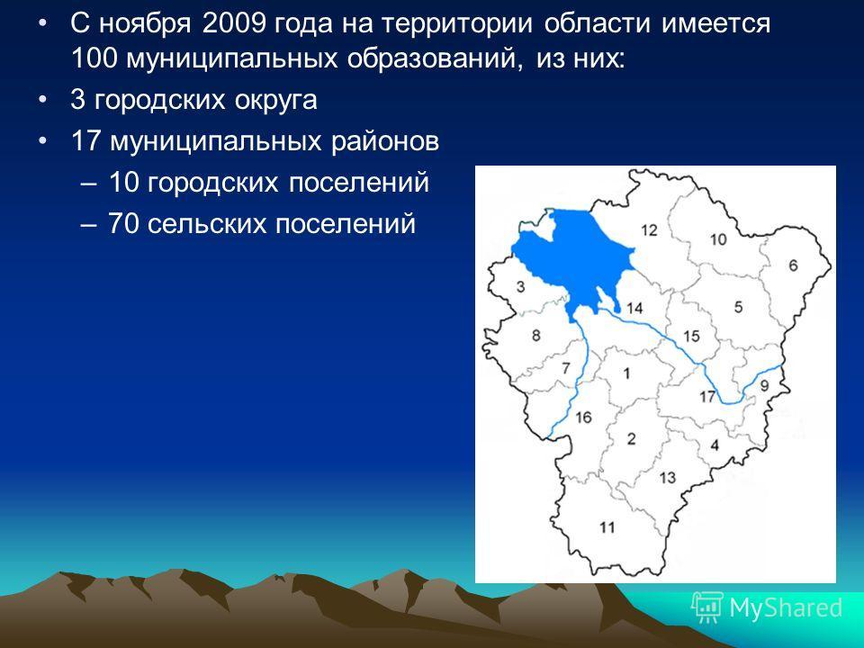 С ноября 2009 года на территории области имеется 100 муниципальных образований, из них: 3 городских округа 17 муниципальных районов –10 городских поселений –70 сельских поселений
