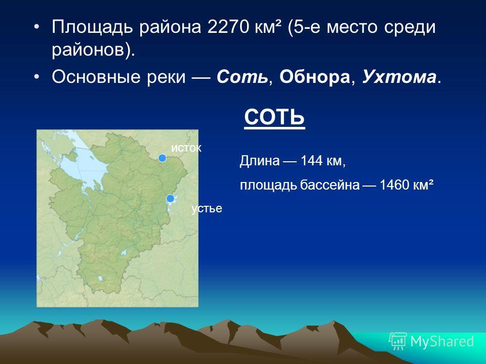 Площадь района 2270 км² (5-е место среди районов). Основные реки Соть, Обнора, Ухтома. исток устье СОТЬ Длина 144 км, площадь бассейна 1460 км²