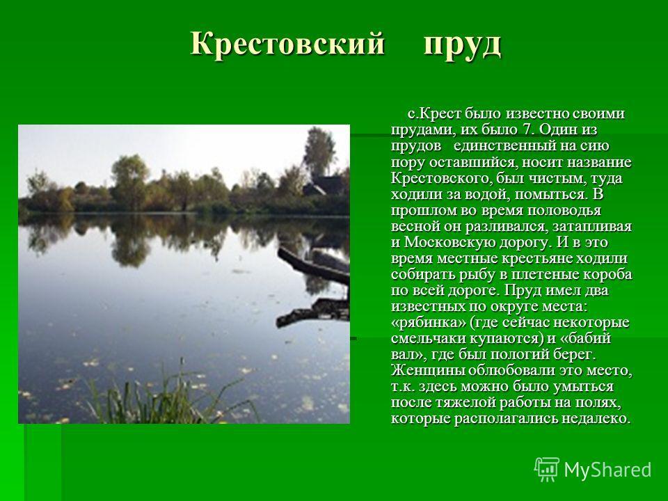 Крестовский пруд с.Крест было известно своими прудами, их было 7. Один из прудов единственный на сию пору оставшийся, носит название Крестовского, был чистым, туда ходили за водой, помыться. В прошлом во время половодья весной он разливался, затаплив