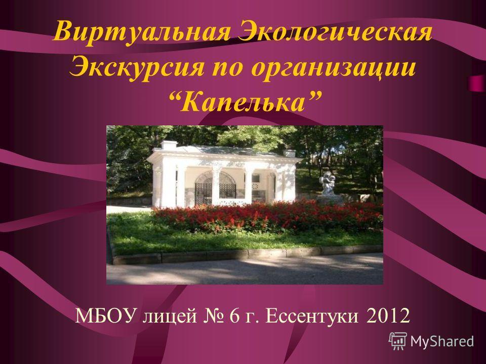 Виртуальная Экологическая Экскурсия по организацииКапелька МБОУ лицей 6 г. Ессентуки 2012