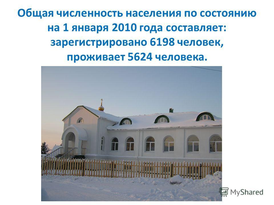 Общая численность населения по состоянию на 1 января 2010 года составляет: зарегистрировано 6198 человек, проживает 5624 человека.