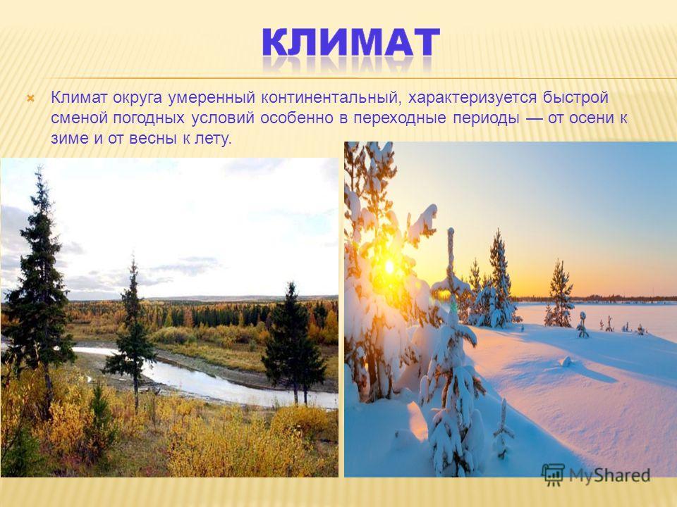 Климат округа умеренный континентальный, характеризуется быстрой сменой погодных условий особенно в переходные периоды от осени к зиме и от весны к лету.
