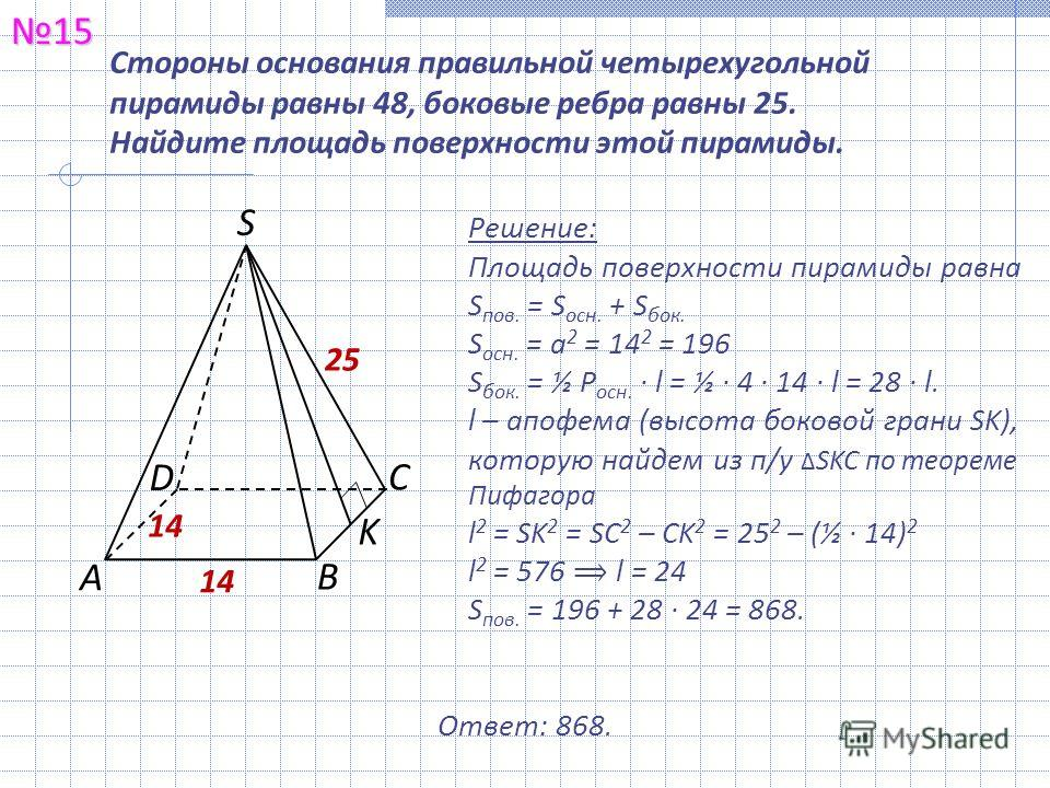 Стороны основания правильной четырехугольной пирамиды равны 48, боковые ребра равны 25. Найдите площадь поверхности этой пирамиды.15 Решение: Площадь поверхности пирамиды равна S пов. = S осн. + S бок. S осн. = а 2 = 14 2 = 196 S бок. = ½ Р осн. · l