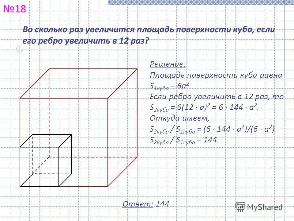 Во сколько раз увеличится площадь поверхности куба, если его ребро увеличить в 12 раз?18 Решение: Площадь поверхности куба равна S 1куба = 6а 2 Если ребро увеличить в 12 раз, то S 2куба = 6(12 · а) 2 = 6 · 144 · а 2. Откуда имеем, S 2куба / S 1куба =