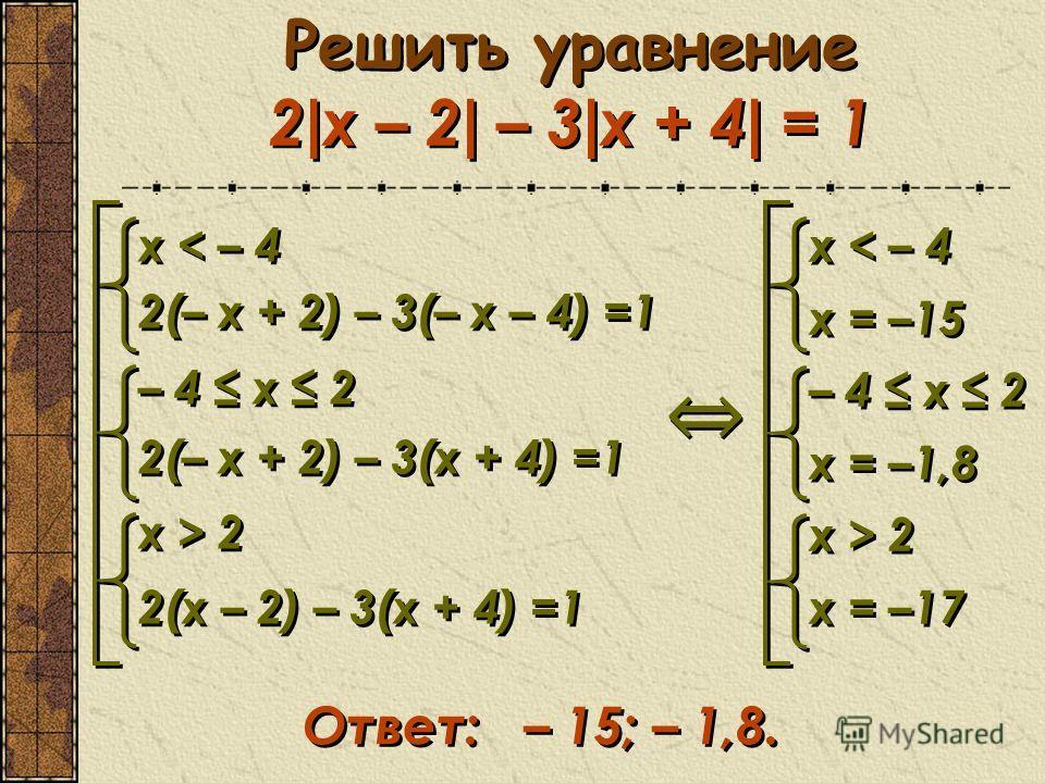 Решить уравнение 2 | x – 2 | – 3 | х + 4 | = 1 x < – 4 2(– x + 2) – 3(– x – 4) =1 – 4 x 2 2(– x + 2) – 3(x + 4) =1 x > 2 2(x – 2) – 3(x + 4) =1 x < – 4 2(– x + 2) – 3(– x – 4) =1 – 4 x 2 2(– x + 2) – 3(x + 4) =1 x > 2 2(x – 2) – 3(x + 4) =1 x < – 4 x
