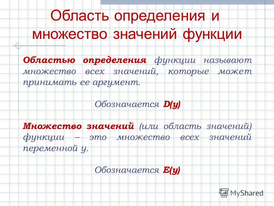 Область определения и множество значений функции Областью определения функции называют множество всех значений, которые может принимать ее аргумент. Обозначается D(y) Множество значений (или область значений) функции – это множество всех значений пер