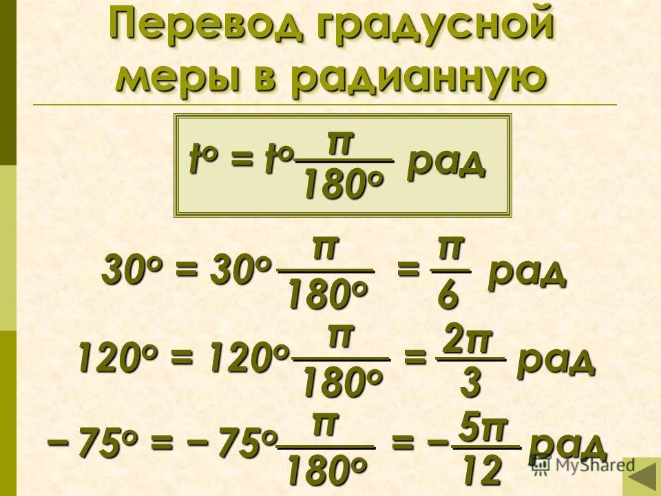 Перевод градусной меры в радианную t o = t о рад π 180o180o180o180o 30 o = 30 о = рад π 180o180o180o180oπ6 120 o = 120 о = рад π 180o180o180o180o 2π2π2π2π 3 π 180o180o180o180o 75 o = 75 о = рад 75 o = 75 о = рад 5π5π5π5π 12