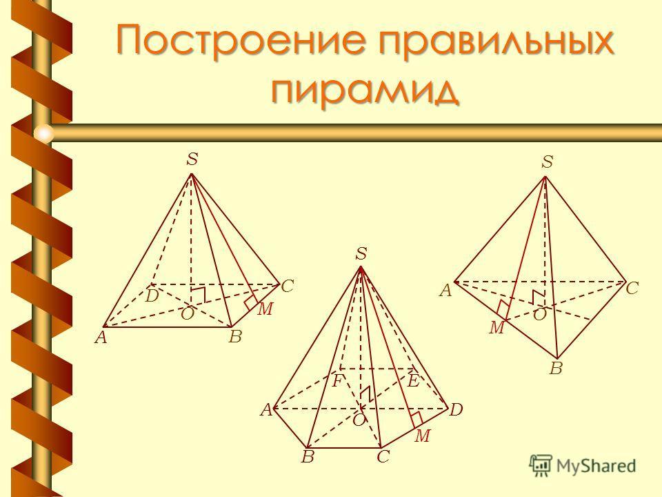 Построение правильных пирамид O S А В D C M O А С В S M M AD CB EF S O