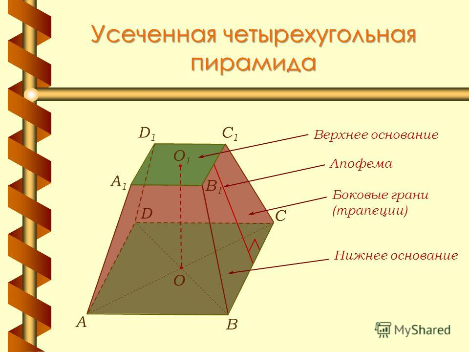 Усеченная четырехугольная пирамида В А С О1О1 A1A1 C1C1 D1D1 B1B1 D О Апофема Верхнее основание Нижнее основание Боковые грани (трапеции)