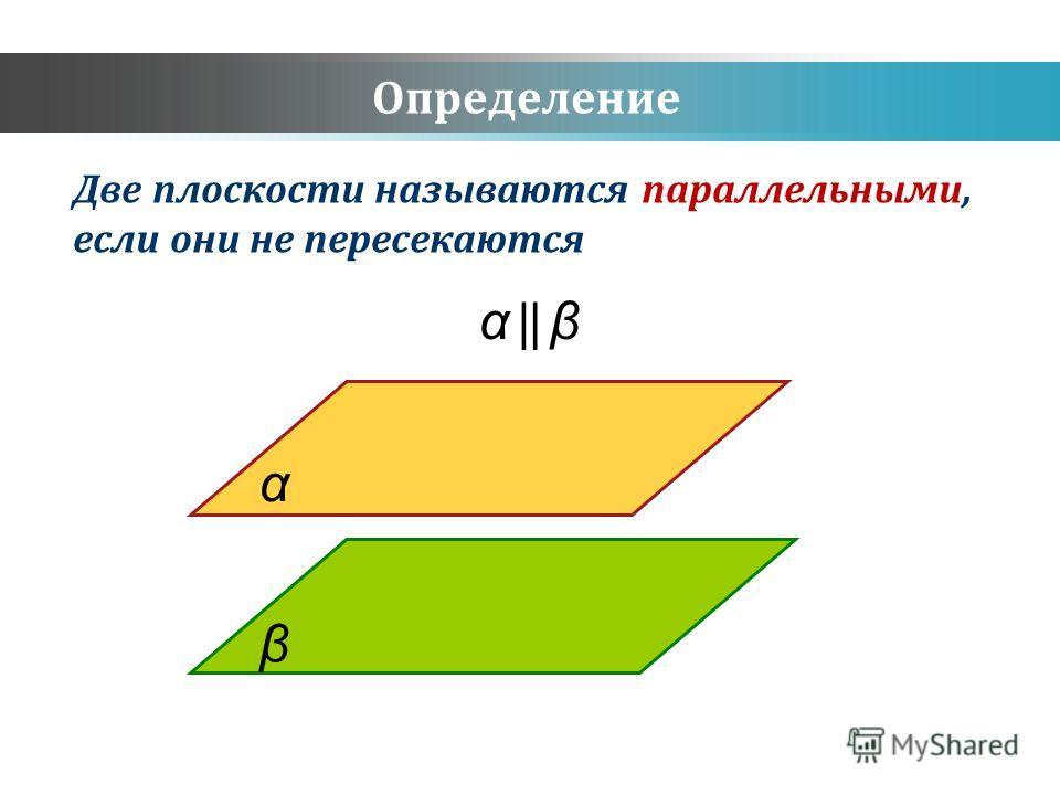 Определение Две плоскости называются параллельными, если они не пересекаются α β α β