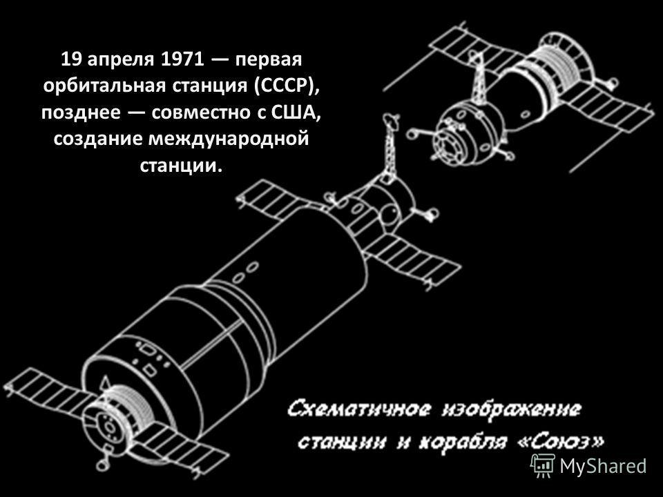 19 апреля 1971 первая орбитальная станция (СССР), позднее совместно с США, создание международной станции.