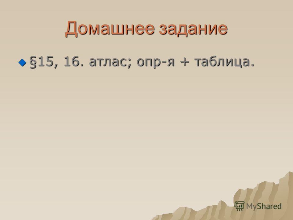 Домашнее задание §15, 16. атлас; опр-я + таблица. §15, 16. атлас; опр-я + таблица.