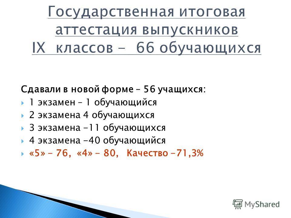 Сдавали в новой форме – 56 учащихся: 1 экзамен – 1 обучающийся 2 экзамена 4 обучающихся 3 экзамена -11 обучающихся 4 экзамена -40 обучающийся «5» - 76, «4» - 80, Качество -71,3%