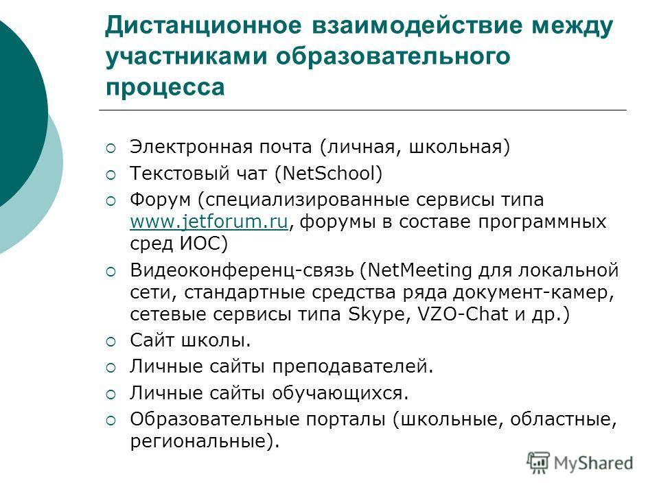 Дистанционное взаимодействие между участниками образовательного процесса Электронная почта (личная, школьная) Текстовый чат (NetSchool) Форум (специализированные сервисы типа www.jetforum.ru, форумы в составе программных сред ИОС) www.jetforum.ru Вид