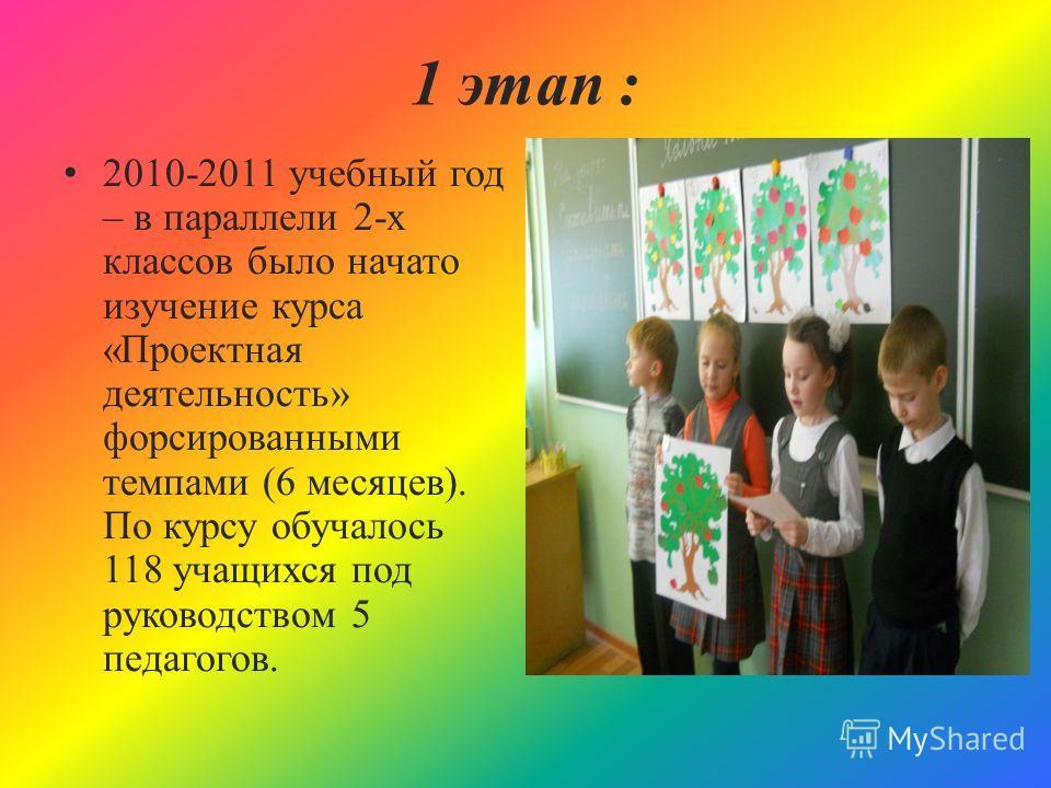 1 этап : 2010-2011 учебный год – в параллели 2-х классов было начато изучение курса «Проектная деятельность» форсированными темпами (6 месяцев). По курсу обучалось 118 учащихся под руководством 5 педагогов.