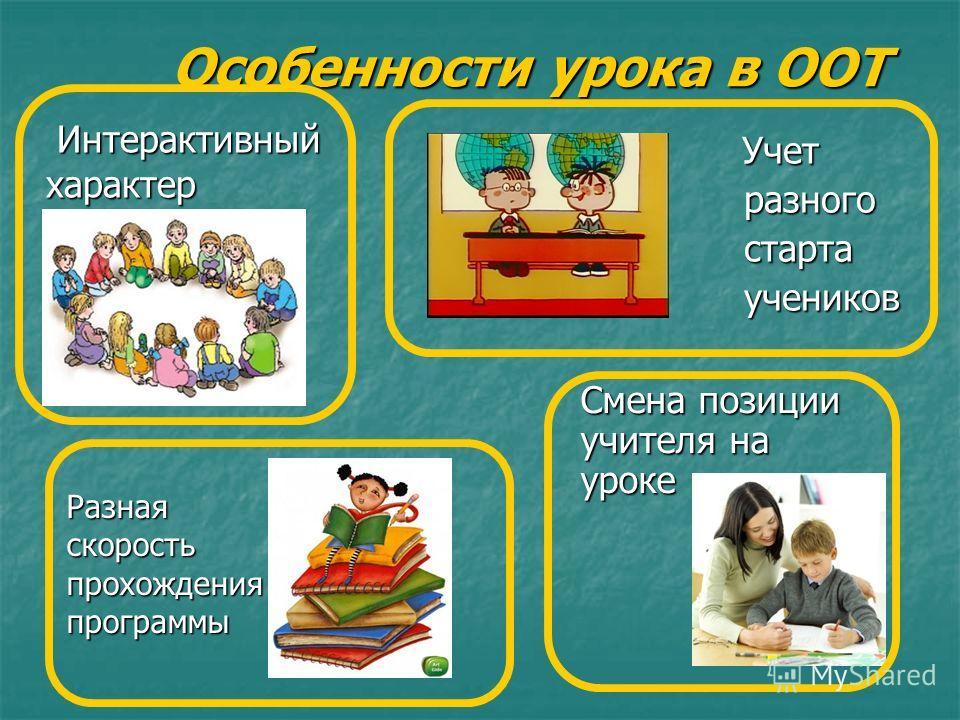 Особенности урока в ООТ Интерактивный характер Интерактивный характер Учет Учет разного разного старта старта учеников учеников Смена позиции учителя на уроке Разнаяскоростьпрохожденияпрограммы