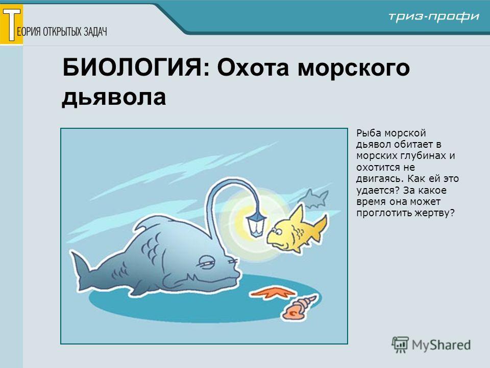 БИОЛОГИЯ: Охота морского дьявола Рыба морской дьявол обитает в морских глубинах и охотится не двигаясь. Как ей это удается? За какое время она может проглотить жертву?