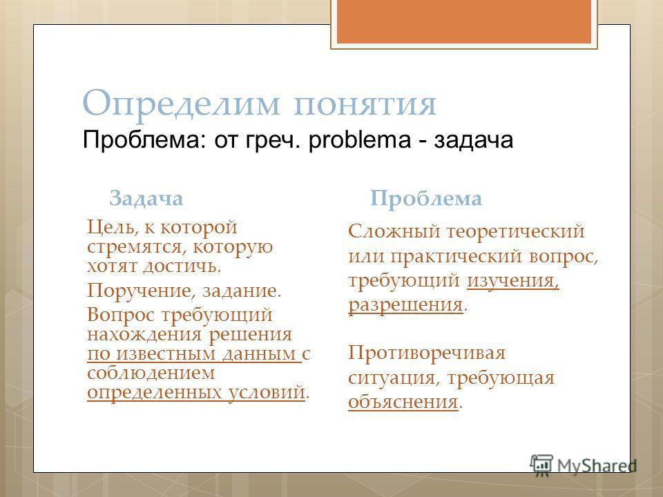 Определим понятия Проблема: от греч. problema - задача Задача Цель, к которой стремятся, которую хотят достичь. Поручение, задание. Вопрос требующий нахождения решения по известным данным с соблюдением определенных условий. Проблема Сложный теоретиче