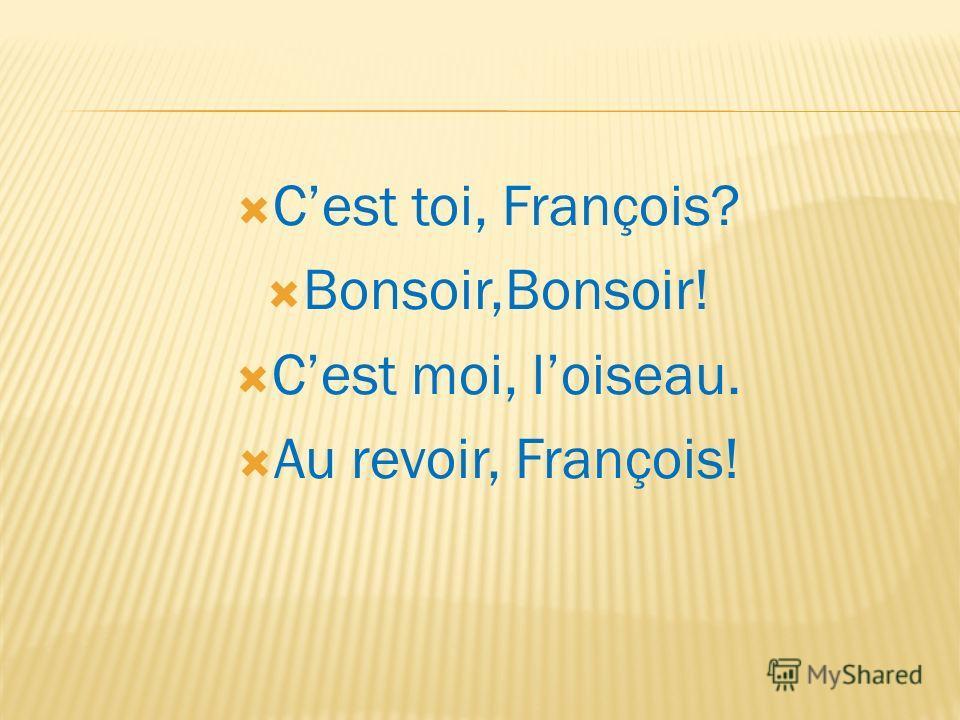 Cest toi, François? Bonsoir,Bonsoir! Cest moi, loiseau. Au revoir, François!