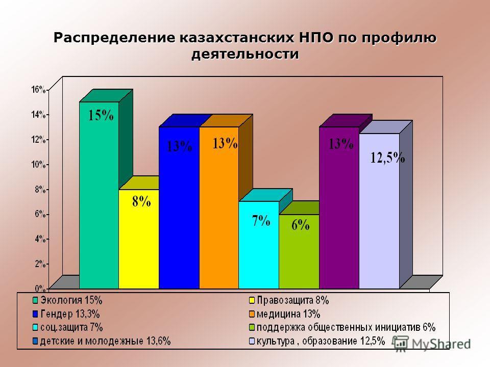 Распределение казахстанских НПО по профилю деятельности