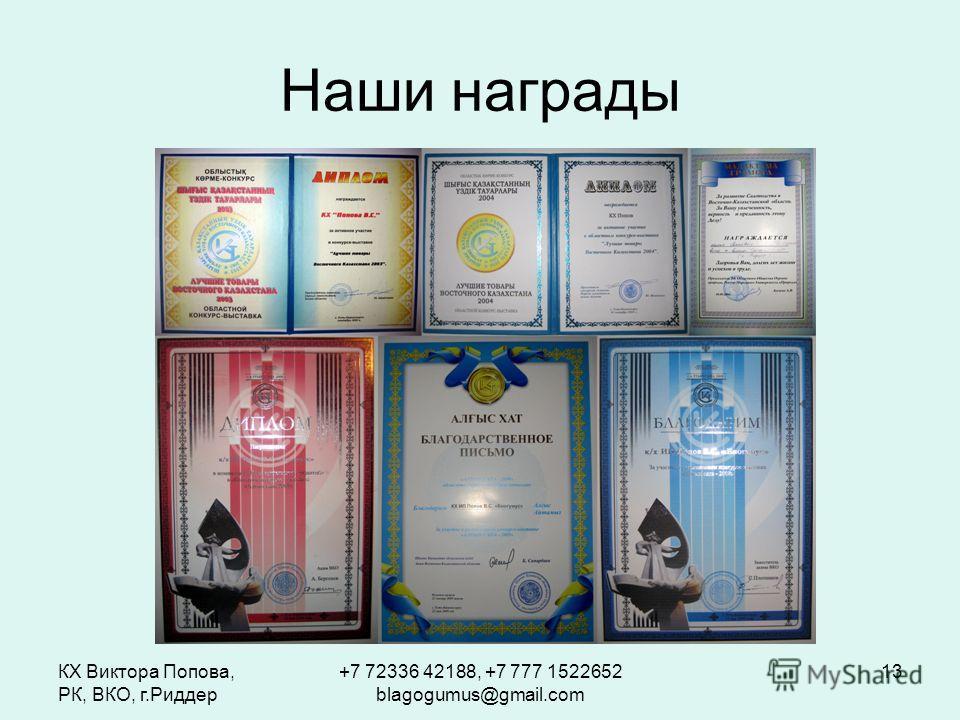 КХ Виктора Попова, РК, ВКО, г.Риддер +7 72336 42188, +7 777 1522652 blagogumus@gmail.com 13 Наши награды