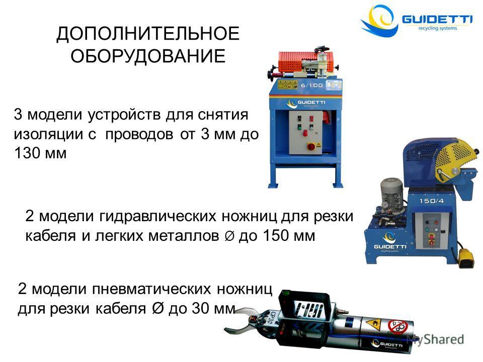 2 модели гидравлических ножниц для резки кабеля и легких металлов Ø до 150 мм 2 модели пневматических ножниц для резки кабеля Ø до 30 мм ДОПОЛНИТЕЛЬНОЕ ОБОРУДОВАНИЕ 3 модели устройств для снятия изоляции с проводов от 3 мм до 130 мм