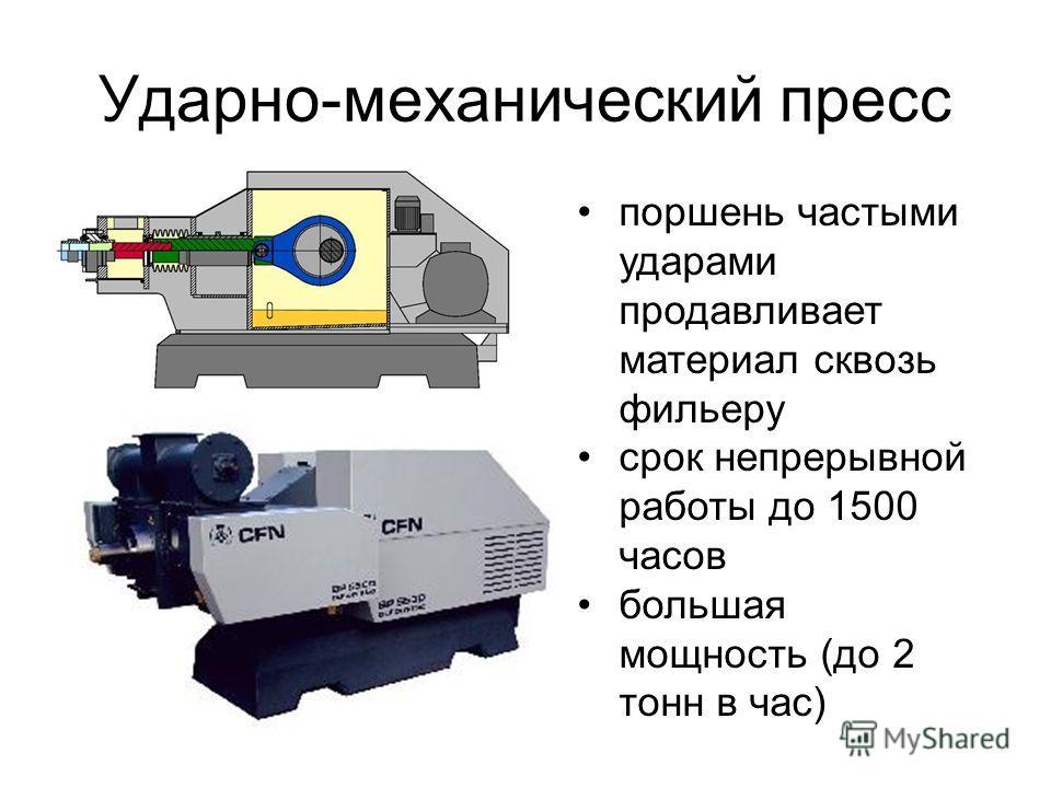 Ударно-механический пресс поршень частыми ударами продавливает материал сквозь фильеру срок непрерывной работы до 1500 часов большая мощность (до 2 тонн в час)