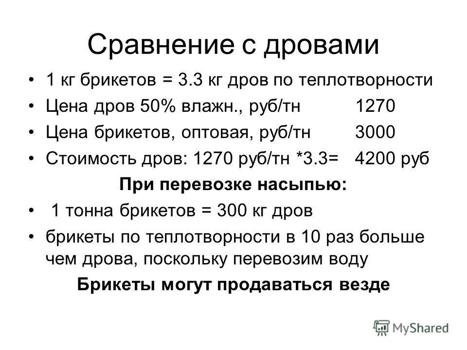 Сравнение с дровами 1 кг брикетов = 3.3 кг дров по теплотворности Цена дров 50% влажн., руб/тн1270 Цена брикетов, оптовая, руб/тн3000 Стоимость дров: 1270 руб/тн *3.3= 4200 руб При перевозке насыпью: 1 тонна брикетов = 300 кг дров брикеты по теплотво