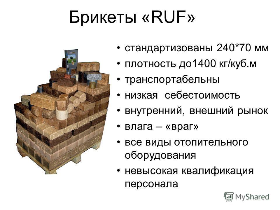 Брикеты «RUF» стандартизованы 240*70 мм плотность до1400 кг/куб.м транспортабельны низкая себестоимость внутренний, внешний рынок влага – «враг» все виды отопительного оборудования невысокая квалификация персонала