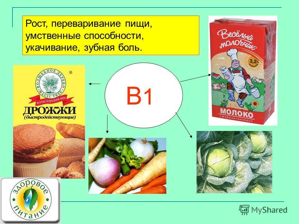 В1В1 Рост, переваривание пищи, умственные способности, укачивание, зубная боль.