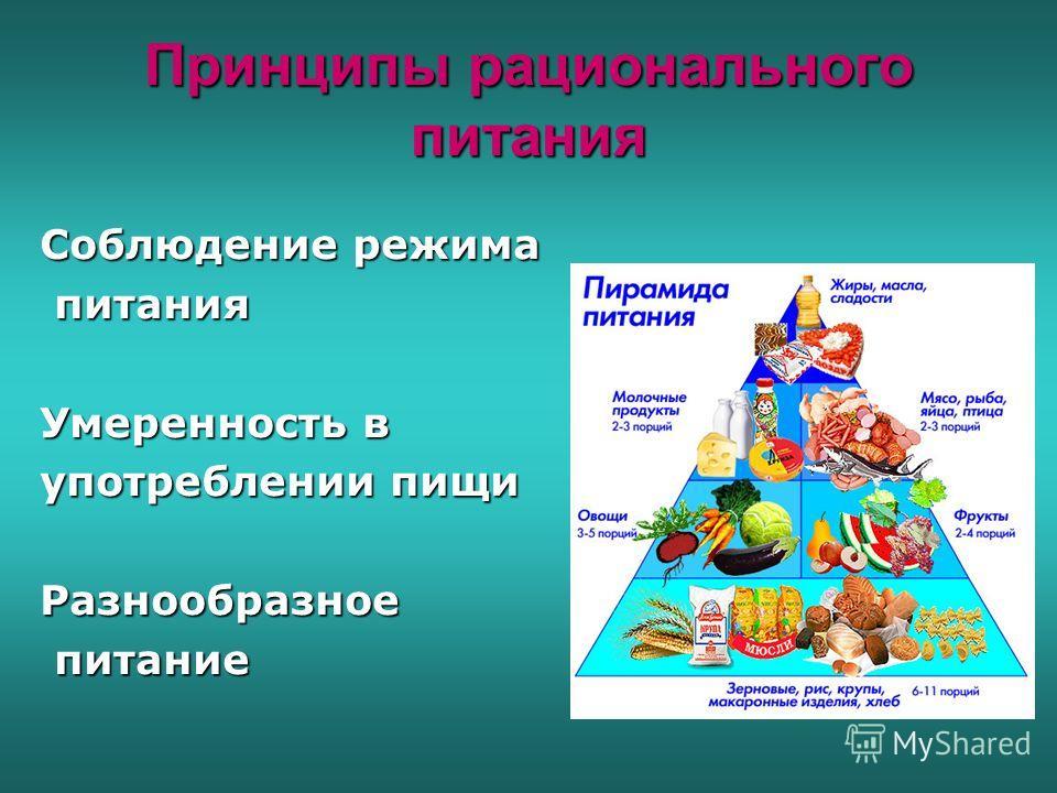 Принципы рационального питания Соблюдение режима питания питания Умеренность в употреблении пищи Разнообразное питание питание