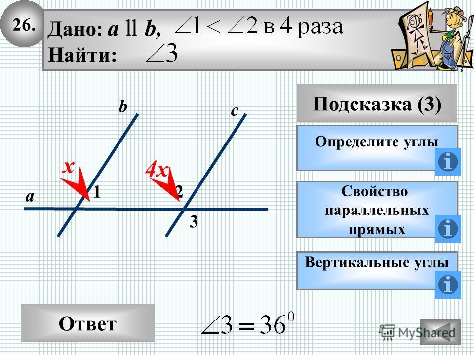 26. Ответ Подсказка (3) Определите углы 2 3 с а b Дано: а ll b, Найти: 1 х Свойство параллельных прямых 4х Вертикальные углы