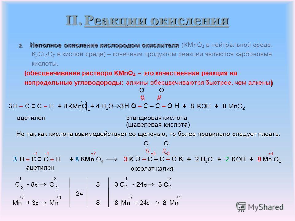 II.Реакции окисления 1. Горение 2C 2 H 2 + 5 O 2 (избыток) 2C 2 H 2 + 3 O 2 (недостаток) 2C 2 H 2 + O 2 (сильный недостаток) Смеси ацетилена с воздухом или кислородом взрывоопасны; ацетилен может также взрываться при ударах. 2 H 2 O+4 CO 2 4 CO +2 H
