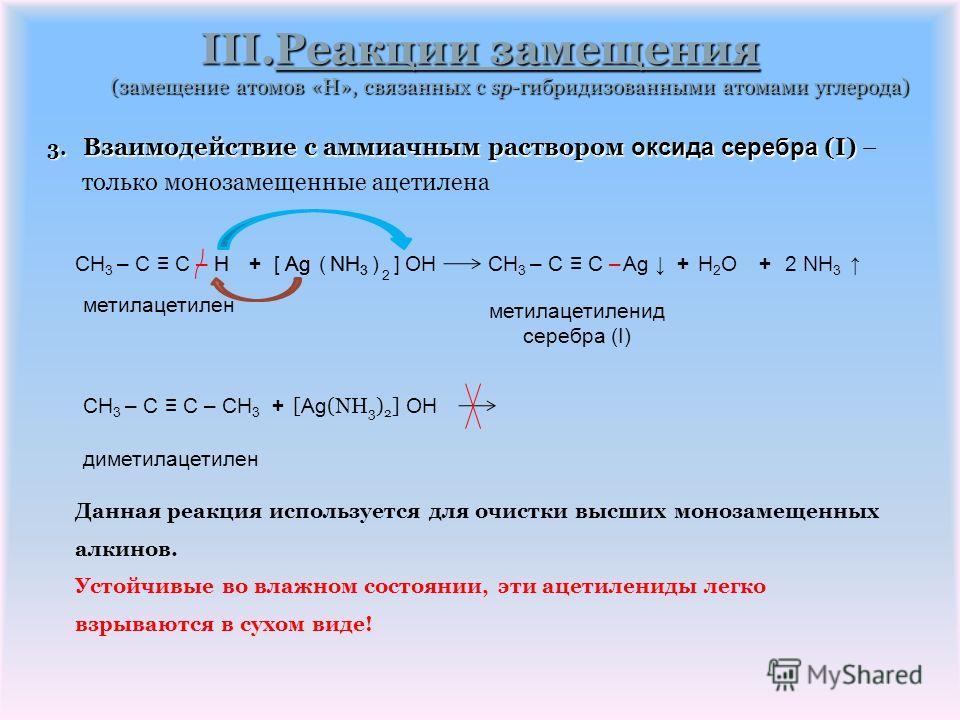 III.Реакции замещения (замещение атомов «H», связанных с sp-гибридизованными атомами углерода) 2. Взаимодействие с аммиачными растворами солей меди (I) 2. Взаимодействие с аммиачными растворами солей меди (I) – только монозамещенные ацетилена CH 3 –
