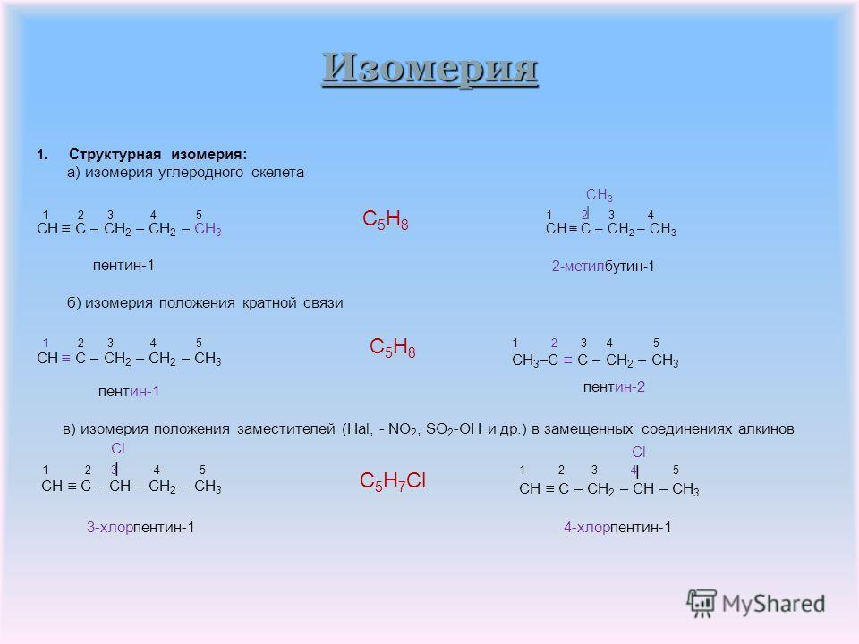 Номенклатура и изомерия H H | | H – C – C C – C – H | | H H Для алкинов характерны следующие виды изомерии: 1. Структурная изомерия: а) изомерия углеродного скелета б) изомерия положения кратной связи в) изомерия положения заместителей (Hal, - NO 2,