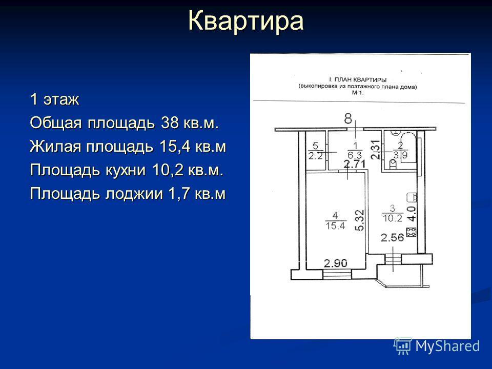Квартира 1 этаж Общая площадь 38 кв.м. Жилая площадь 15,4 кв.м Площадь кухни 10,2 кв.м. Площадь лоджии 1,7 кв.м