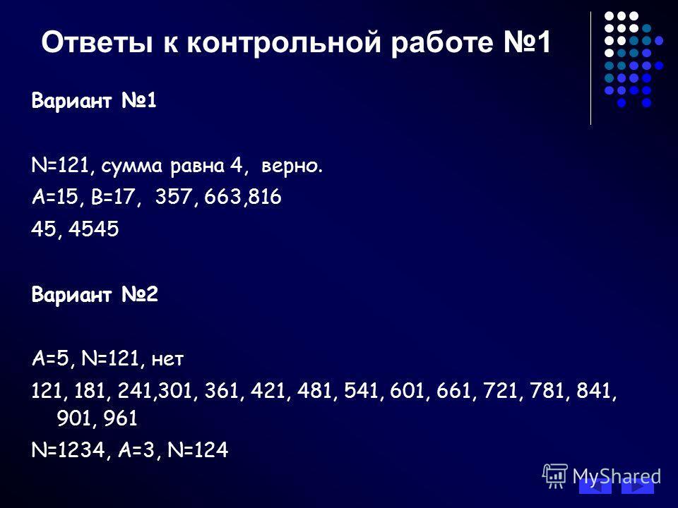 Ответы к контрольной работе 1 Вариант 1 N=121, сумма равна 4, верно. А=15, В=17, 357, 663,816 45, 4545 Вариант 2 А=5, N=121, нет 121, 181, 241,301, 361, 421, 481, 541, 601, 661, 721, 781, 841, 901, 961 N=1234, А=3, N=124