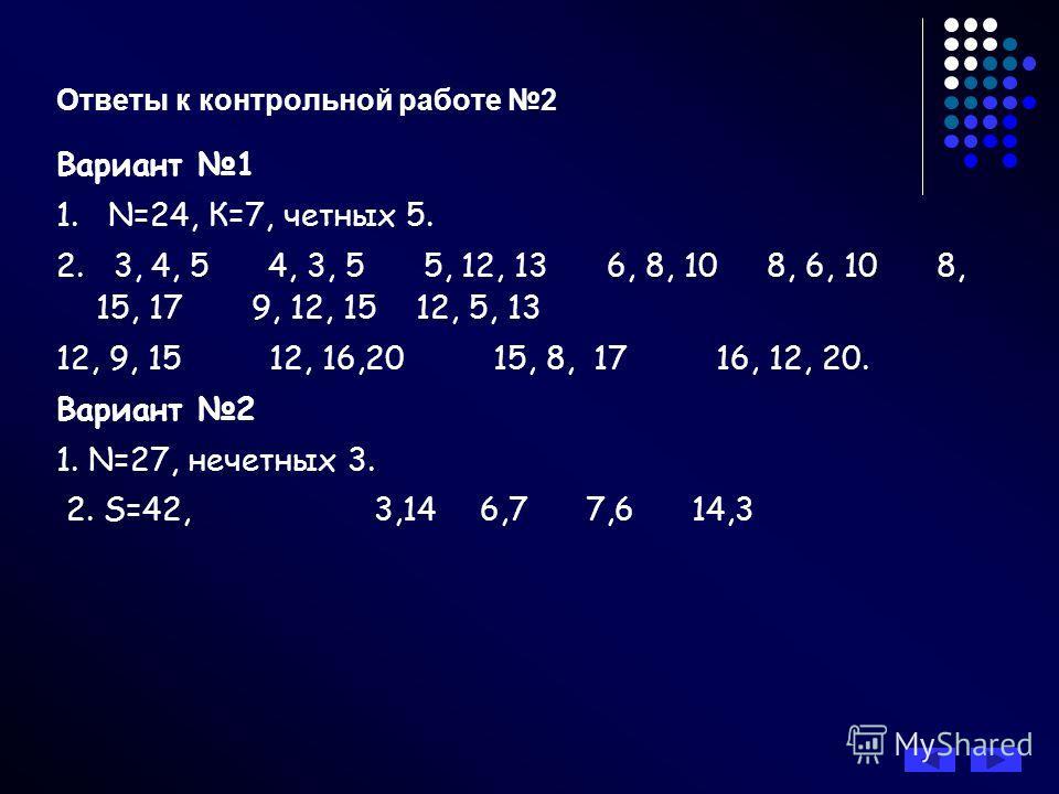 Ответы к контрольной работе 2 Вариант 1 1. N=24, К=7, четных 5. 2. 3, 4, 5 4, 3, 5 5, 12, 13 6, 8, 10 8, 6, 10 8, 15, 17 9, 12, 15 12, 5, 13 12, 9, 15 12, 16,20 15, 8, 17 16, 12, 20. Вариант 2 1. N=27, нечетных 3. 2. S=42, 3,146,77,614,3